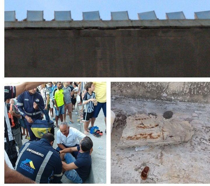 PERIGO: Pedaço de marquise cai sobre torcedor no Estádio Almeidão