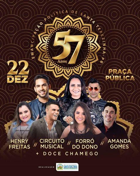 Prefeitura de Santa Terezinha-PB anuncia programação da festa de aniversário da cidade