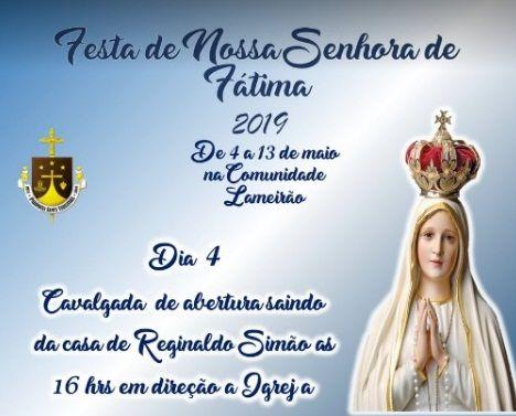 Participem da Festa de Nossa Senhora de Fátima, em Santa Terezinha; veja a programação