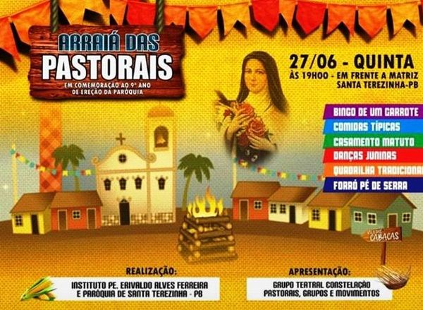 Participe do Arraiá das Pastorais nesta quinta-feira, em Santa Terezinha