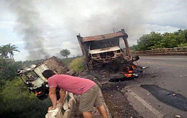 Caminhoneiro paraibano morre carbonizado em acidente no Maranhão