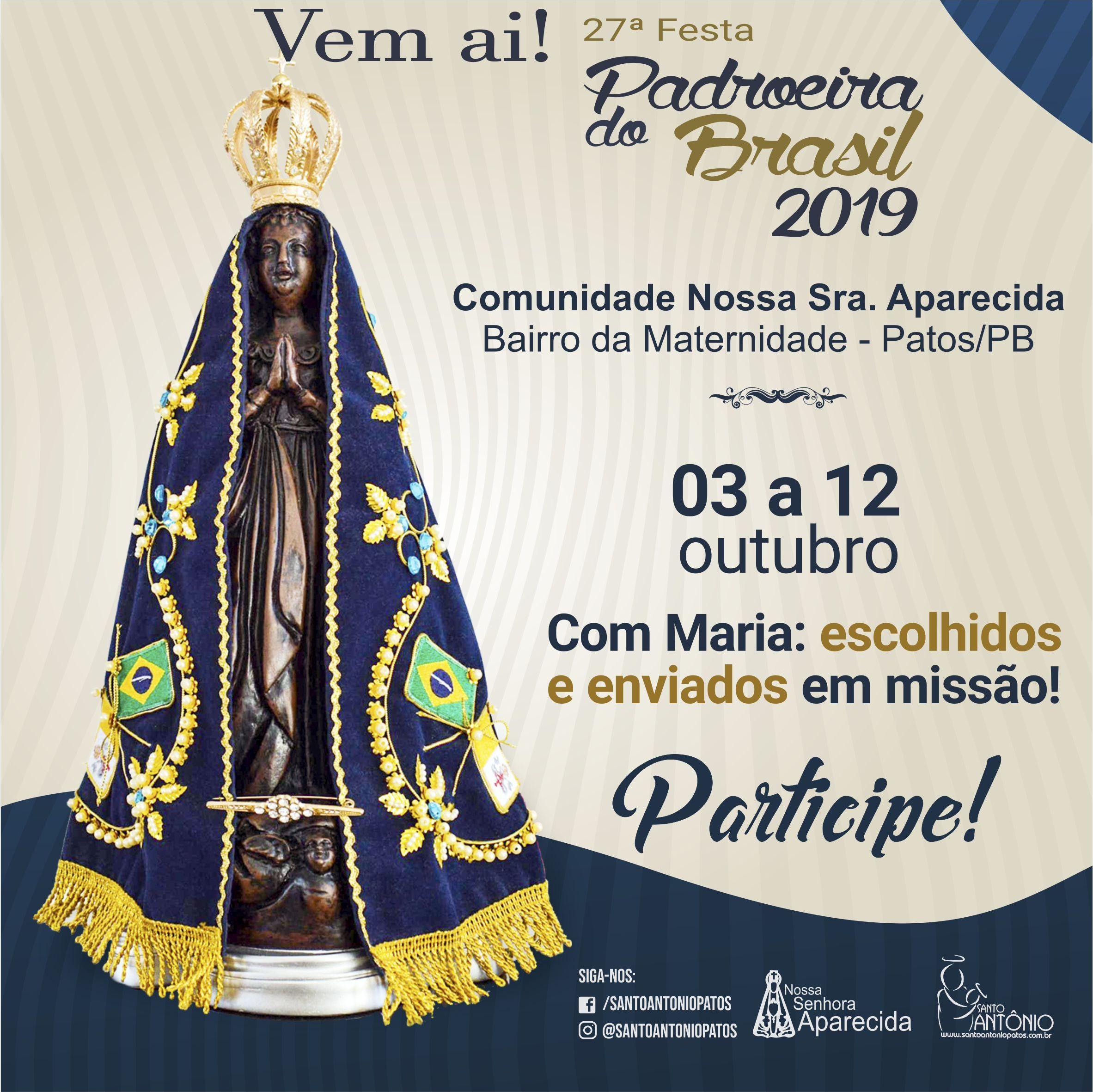 Veja aqui a Programação Religiosa Completa - Festa de N Sra. Aparecida - 2019
