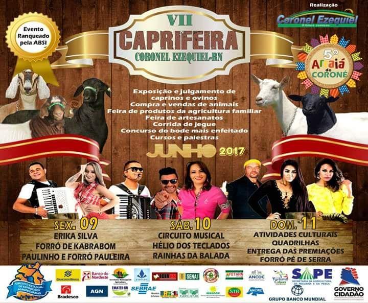 Prefeitura de Coronel Ezequiel realiza nos dias 09, 10 e 11 de junho a VII Caprifeira