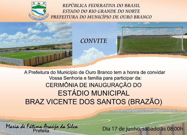 Convite - Inauguração do Estádio Municipal Braz Vicente dos Santos (Brazão)