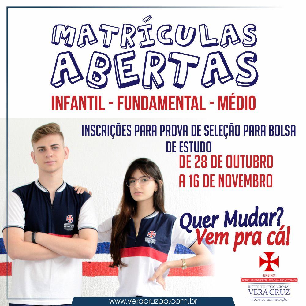 Vera Cruz abre inscrições para Bolsas de Estudo!