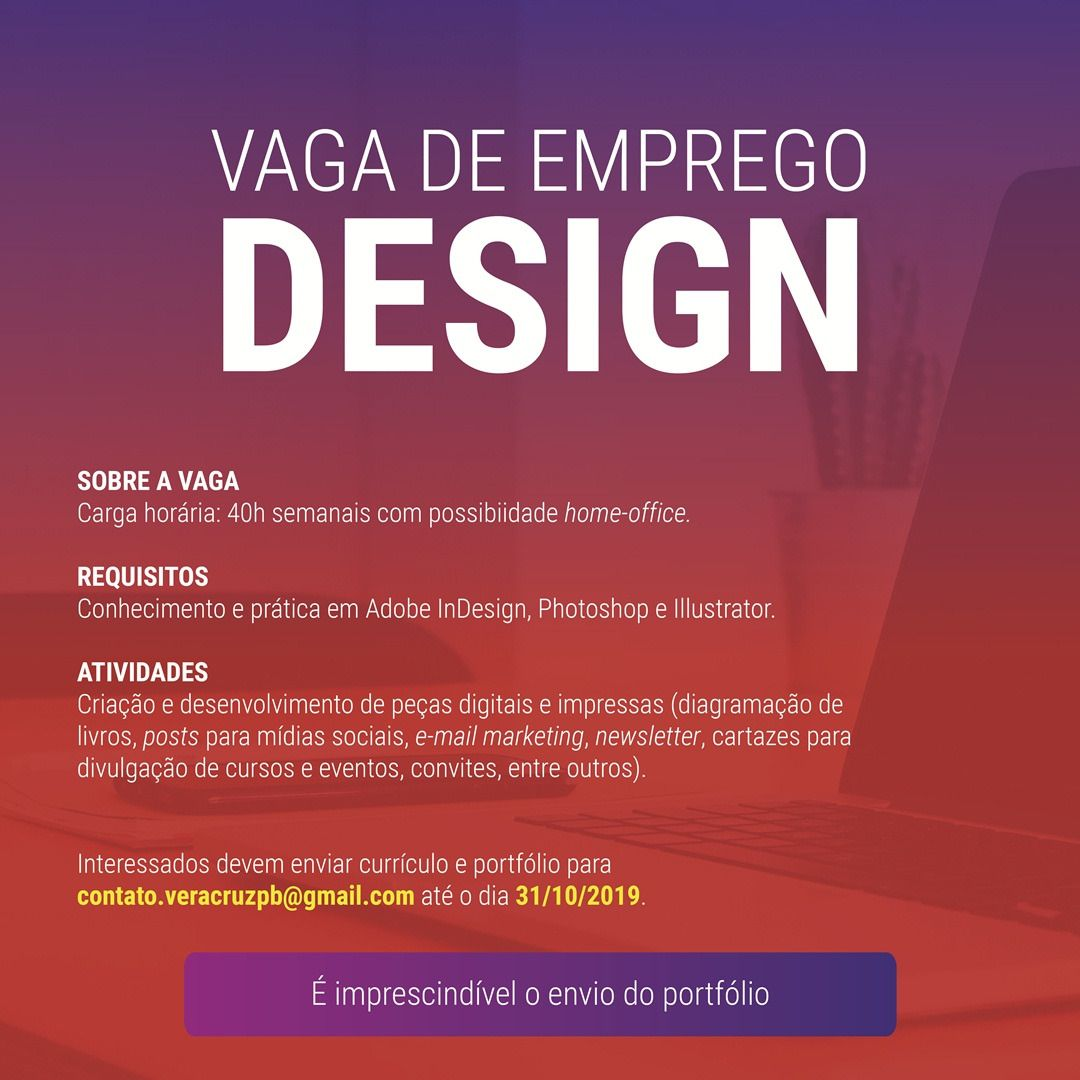Você é Design? Venha trabalhar conosco!